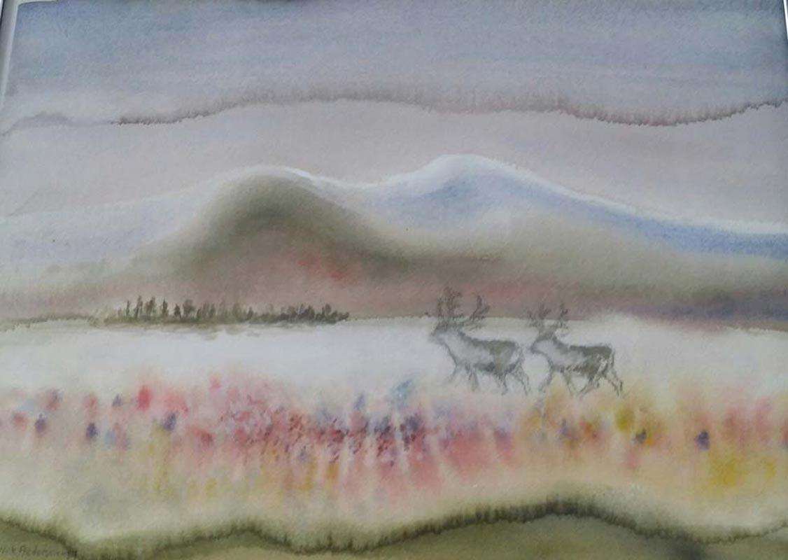 Høst-i-fjellet Morgen-ved-brygga - Heidi Frich Andersen